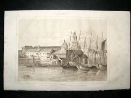 L'Universe C1850's Antique Print Havana Port, Cuba